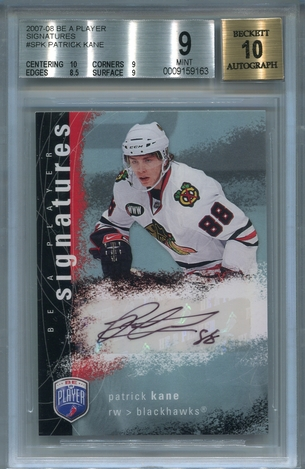 Patrick Kane Rookie BGS Certified Authentic Autograph - 2007 Be A Player