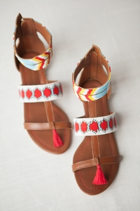 NEW Beaded Sandal with pompom