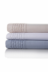 Pintuck Chambray Cotton Sheet Set demin blue