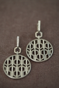 Silver and Diamond Circle Drop Earring