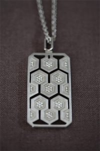 Silver and Diamond Dog Tag Pendant