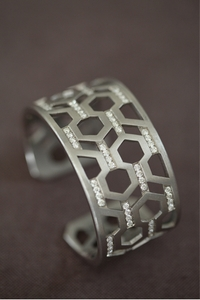 Silver and Diamond Hexagon Cuff