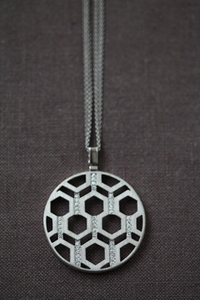 Silver and Diamond Hexagon Medallion large