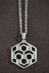 Silver and Diamond Hexagon Pendant