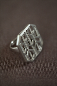 Silver and Diamond Hexagon Ring