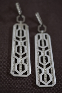 Silver and Diamond Panel Earrings
