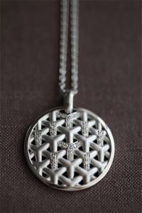 Silver and Diamond Y Medallion Pendant