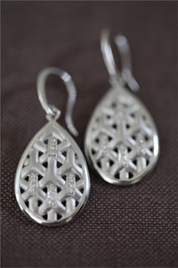 Silver and Diamond Y Teardrop Earring