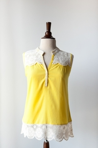 Yellow Cotton & Lace Top