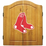 Boston Red Sox MLB Complete Dart Board Cabinet Set (w/ darts & flights)