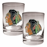 Chicago Blackhawks NHL Rocks Glass - Set of 2