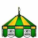 """Green Bay Packers NFL Team 16"""" Diameter Stained Glass Pub Light"""