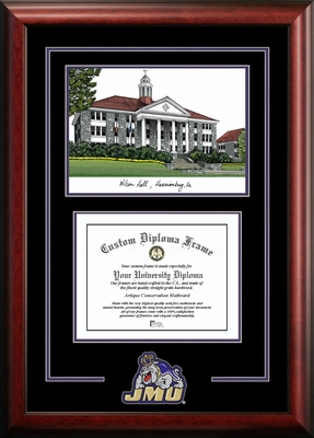 James Madison Dukes Spirit Diploma Frame with Campus Image