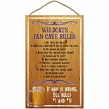 Kansas State Wildcats Fan Cave Rules Wood Sign