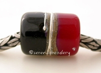 Black Red Silvered Ivory Tube Big Hole Bead