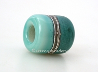 Copper Green Neptune Silvered Ivory Tube Big Hole Bead