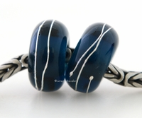 Dark Denim Fine Silver Wrap European Charm Bead