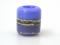 Dark Periwinkle Lilac Silvered Ivory Tube Big Hole Bead