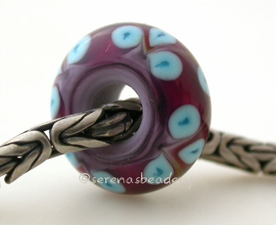 New Violet Pink and Turquoise Flower European Charm
