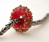 Red Raku Sugar European Charm Bead