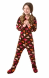 Big Feet Brown Heart Girls Footed Pajamas