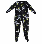 Black Galaxy Footed Pajamas for Boys