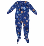 Blue and Orange Sports Footed Pajamas for Boys