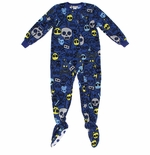 Blue With Yellow and Gray Skulls Footed Pajamas for Boys