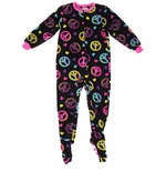Bold Peace Sign Footed Pajamas for Girls