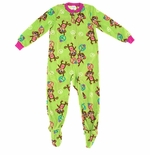 Bright Green Monkey Footed Pajamas for Girls