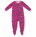 Bright Pink Leopard Print Footed Pajamas for Girls
