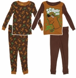 Brown Scooby Doo Two Pack of Cotton Pajamas for Toddlers and Boys
