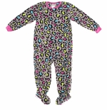 Colorful Leopard Print Girls' Footed Pajamas