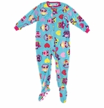 Colorful Owl Footed Pajamas for Girls