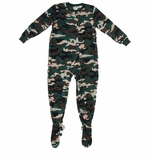 Dark Green and Brown Footed Pajamas for Boys