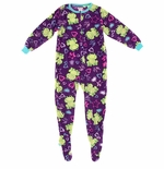 Dark Purple Frog and Heart Footed Pajamas for Girls
