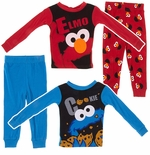 Elmo and Cookie Monster Set of 2 Toddler Boys Cotton Pajamas