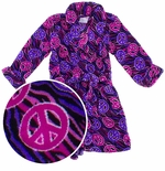 Fuchsia Peace Sign Bathrobe for Toddlers and Girls