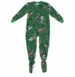 Green Dinosaur Bones Footed Pajamas for Boys