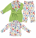 Green Monster Coat Style Pajama and Robe Set for Boys