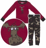 Lazy One Chocolate Moose Cotton Pajama Set for Toddlers and Boys