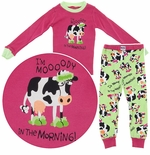 Lazy One I'm Mooody in the Morning Snug Fitting Pajamas for Toddlers and Girls