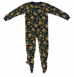 Navy Monkey Boys Footed Pajamas