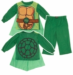 Teenage Mutant Ninja Turtle Green Toddler Boys Pajamas with Cape