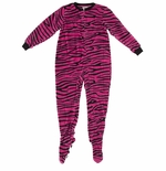 Pink and Black Zebra Print Footed Pajamas for Girls