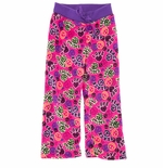 Pink and Purple Fleece Smiley Face Pajama Pants for Girls