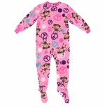 Pink Monkey and Peace Sign Footed Pajamas for Girls