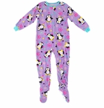 Purple Winter Penguin Footed Pajamas for Girls