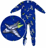 Space Ship Footed Pajamas for Boys