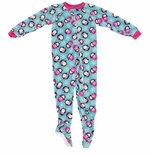 Winter Penguin Girls Footed Pajamas